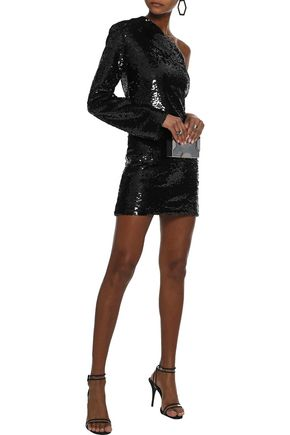 RTA Edie one-shoulder sequined cotton-blend mini dress