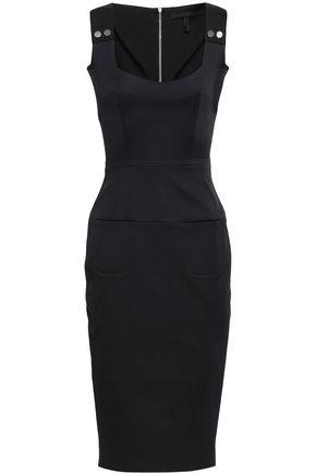 VICTORIA BECKHAM Button-embellished stretch-cotton jacquard dress