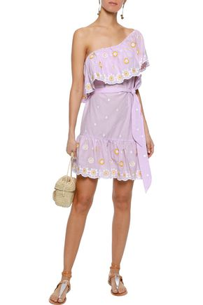 MIGUELINA Summer one-shoulder belted embroidered cotton mini dress