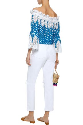 MIGUELINA Ari off-the-shoulder crochet-trimmed polka-dot cotton top