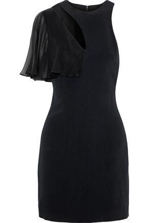 CUSHNIE Ruffled chiffon-paneled cutout stretch-cady mini dress