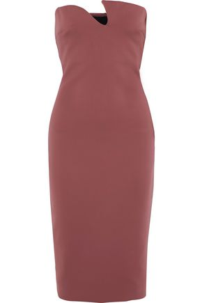 CUSHNIE Strapless ponte midi dress