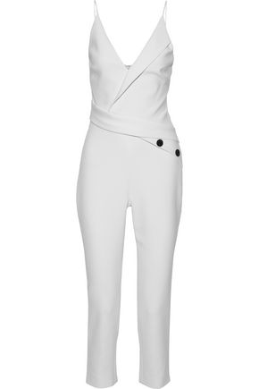CUSHNIE Wrap-effect button-embellished stretch-cady jumpsuit