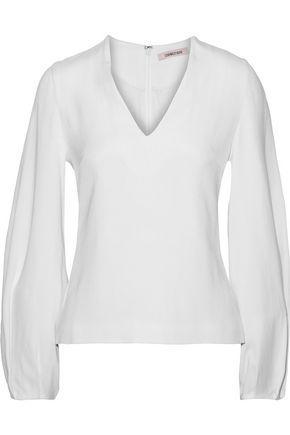 CUSHNIE Pleated crepe blouse