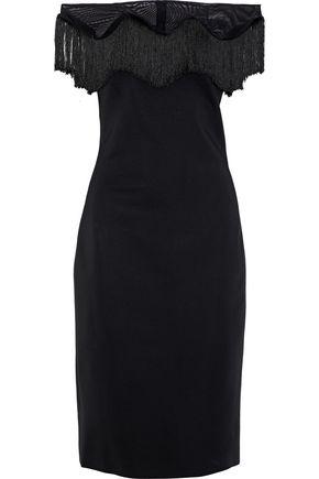 CUSHNIE Off-the-shoulder fringed tulle-trimmed ponte dress