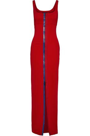 CUSHNIE Zip-detailed cutout stretch-cady gown