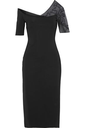 CUSHNIE Embellished tulle-paneled stretch-cady dress