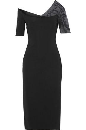 CUSHNIE Embellished tulle-paneled stretch-cady dress