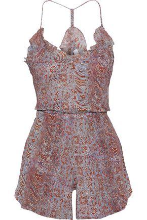 IRO Isrine ruffle-trimmed printed cotton-gauze playsuit