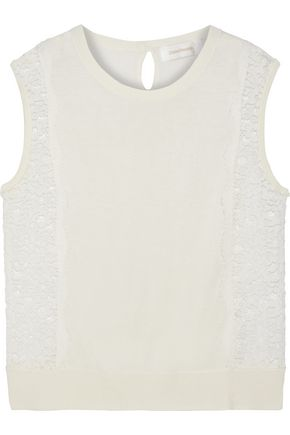ZIMMERMANN Lace-paneled stretch-knit top