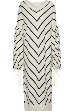 ZIMMERMANN Striped wool and cashmere-blend midi dress