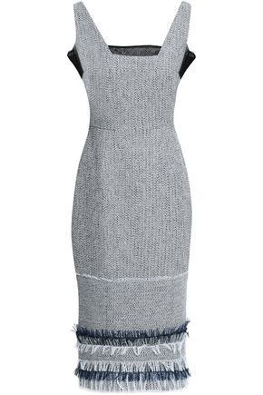ROLAND MOURET Frayed cotton-blend crepe and tweed dress