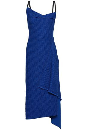 ROLAND MOURET Open-back embroidered cotton-blend twill midi dress