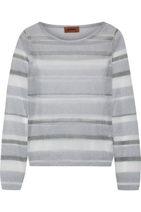MISSONI Metallic striped crochet-knit sweater