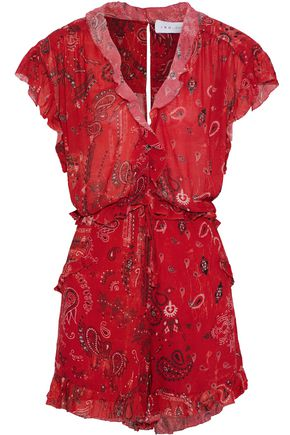 IRO Ruffled printed crepe playsuit