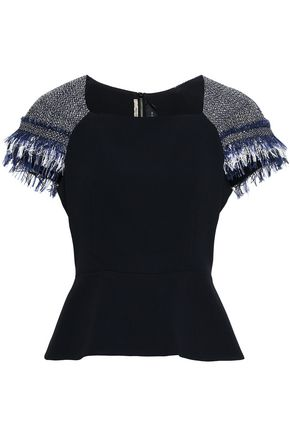 ROLAND MOURET Frayed tweed and crepe peplum top