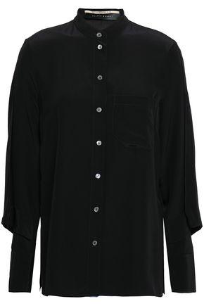 ROLAND MOURET Cutout silk crepe de chine shirt