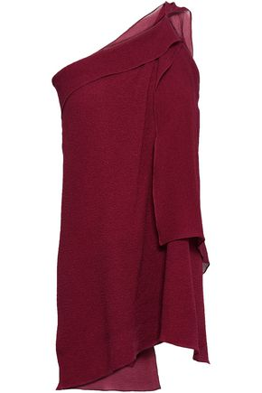 ROLAND MOURET One-shoulder draped silk-cloqué top