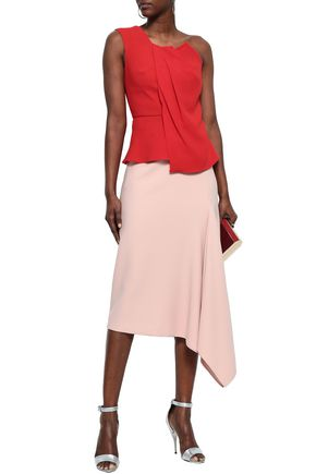 ROLAND MOURET One-shoulder ruched stretch-crepe top