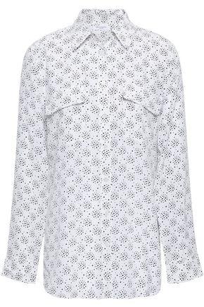 EQUIPMENT スリムフィット シグネチャープリント ウォッシュ加工シルクシャツ