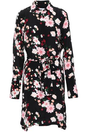 EQUIPMENT Floral-print washed-silk mini shirt dress