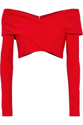 CUSHNIE Cropped off-the-shoulder ponte top