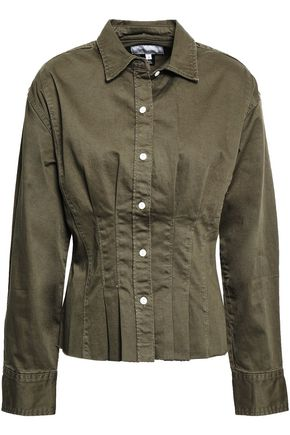 CURRENT/ELLIOTT The Tella Shirt frayed stretch-cotton shirt