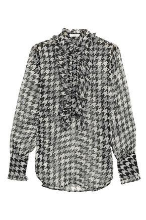 EQUIPMENT Samine ruffled houndstooth silk-chiffon blouse