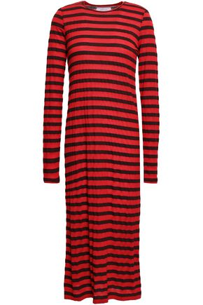 CURRENT/ELLIOTT Striped modal-blend jersey midi dress