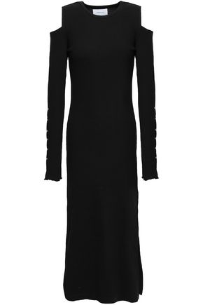 CURRENT/ELLIOTT Cold-shoulder ribbed stretch-knit midi dress