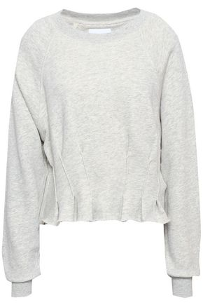 CURRENT/ELLIOTT Mélange cropped French pima cotton-terry sweatshirt