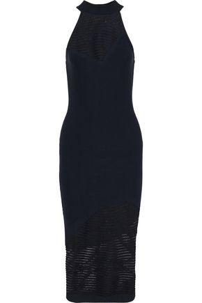 CUSHNIE Paneled striped open-knit dress