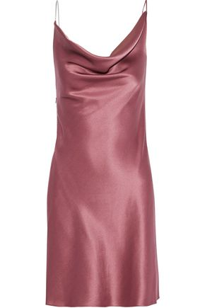 CUSHNIE Chain-trimmed draped silk-satin mini slip dress
