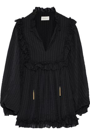 ZIMMERMANN Ruffle-trimmed striped silk-georgette blouse