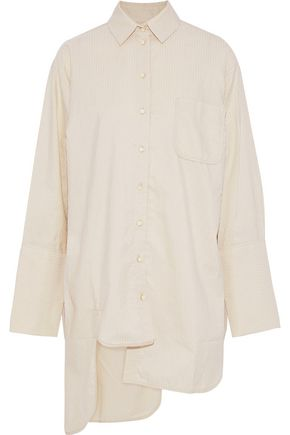 ZIMMERMANN Asymmetric metallic striped cotton-blend poplin shirt