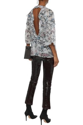 IRO Reopam open-back ruffled snake-print georgette blouse