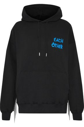 EACH X OTHER Bead-embellished printed cotton-fleece hoodie