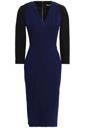 VICTORIA BECKHAM Two-tone silk and wool-blend dress