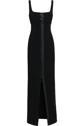 CUSHNIE Zip-detailed cutout stretch-cady gown