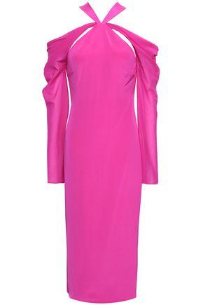 CUSHNIE Cold-shoulder silk-chiffon midi dress