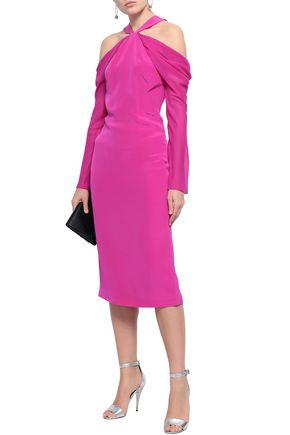 CUSHNIE Cold-shoulder chiffon-paneled silk crepe de chine midi dress
