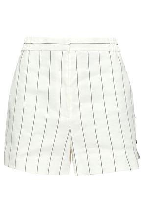 TIBI Striped linen-blend shorts