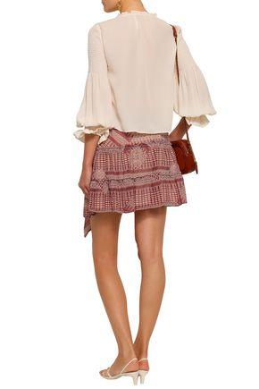 REBECCA MINKOFF Penelope shirred gauze blouse