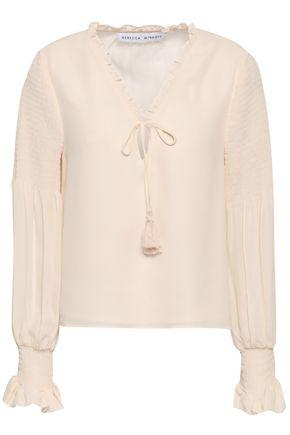 REBECCA MINKOFF Tasseled ruffled georgette blouse