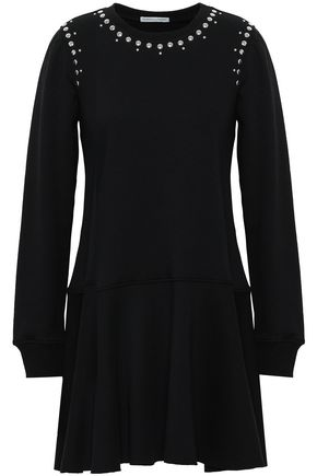 REBECCA MINKOFF Studded cotton-blend fleece mini dress