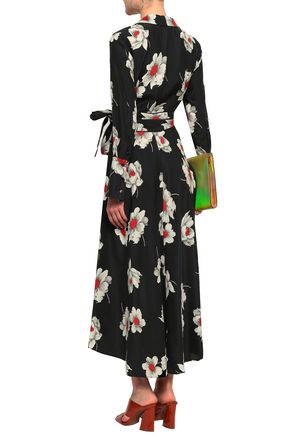 EQUIPMENT Gowin floral-print washed-silk midi wrap dress