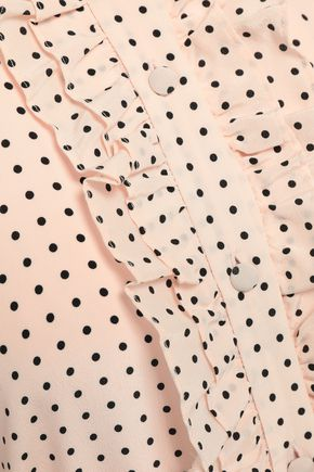 EQUIPMENT Palo ruffle-trimmed polka-dot silk crepe de chine midi dress