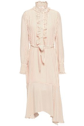 EQUIPMENT Palo ruffle-trimmed polka-dot silk crepe de chine midi dress