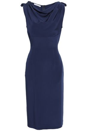 OSCAR DE LA RENTA Draped silk-crepe dress