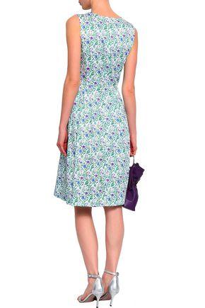 OSCAR DE LA RENTA Pleated printed cotton dress